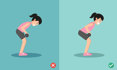 Woman wrong and right bent over row posture,vector illustration
