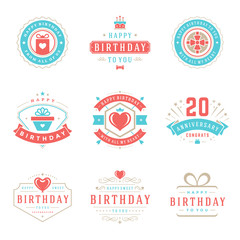 Happy Birthday Badges and Labels Vector Design Elements Set.