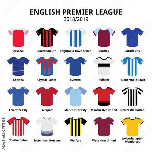 English Premier League kits 2018 - 2019, football or soccer jerseys
