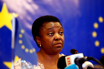 The head of the EU observer mission, Cecile Kyenge, attends a news conference in Bamako