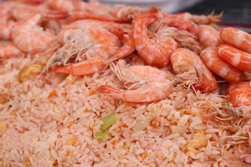 Shrimp fried rice in street food