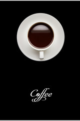 Coffee cup on  black table. Top view with copyspace for your text