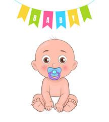 Baby Boy Poster of Newborn Infant Pacifier Vector