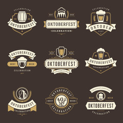 Oktoberfest celebration beer festival labels, badges and logos set