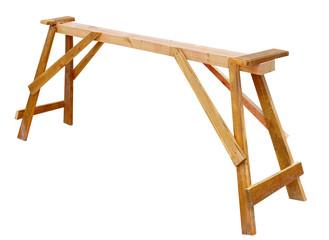 Wooden sawhorse shot