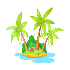 Beautiful tropical island in ocean with palm trees and plants.