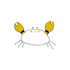 Vector hand drawn crab. Ocean marine world.