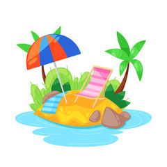Tropical island in ocean with palm, beach under umbrella, sunbed.