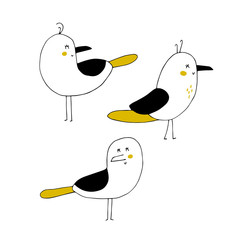 Vector set of hand drawn seagulls. Ocean marine world.
