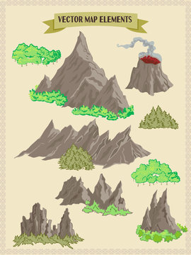 Vector map elements, colorful, hand draw - forest, mountains, trees volume 2