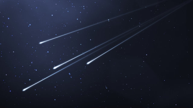 some shooting stars in the night sky