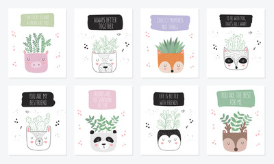 Vector collection of cute posters with house plants in funny animal pots