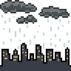 vector pixel art city cloudy rain
