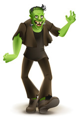 Green cartoon monster Frankenstein goes to Halloween party