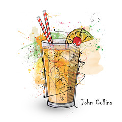 Hand drawn illustration of cocktail. John Collins.