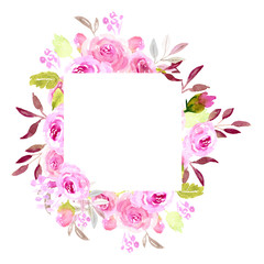 Pink watercolor flower frame, square
