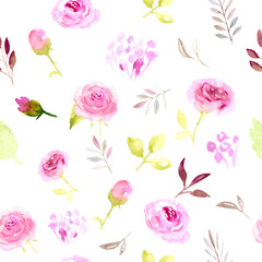 Seamless pattern pink watercolor flowers