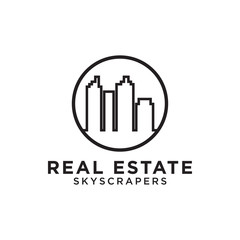 Real estate building skyscrapers mono line logo design
