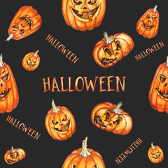 Seamless pattern. Watercolor halloween pumpkins. Hand drawn holiday illustrations isolated on black background.