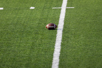 Football placed on field – Ready for the game