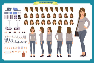 Young woman, casual clothes. Character creation set. Full length