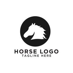 Circle horse silhouette logo design template vector