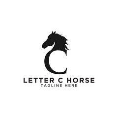 Letter C and horse logo design template