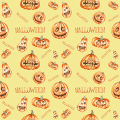 Seamless pattern. Watercolor halloween pumpkins. Hand drawn holiday illustrations isolated on yellow background.