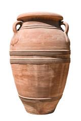 Fototapeta old clay amphora on white obraz
