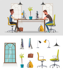 Funny business characters working. Cartoon vector illustration