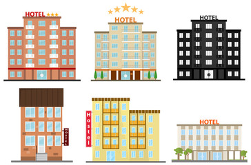 Hotel, hotel icon, hostel icon. Flat design, vector illustration, vector. Wall mural