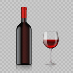 Blank bottle with alcoholic drink and wine glass isolated on a transparent background.
