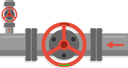 Stop valves. Large valve shut-off valves. Flat design, vector illustration, vector.