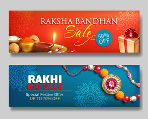 Raksha Bandhan creative promotion banners for Indian festival of sisters and brothers. Vector set.