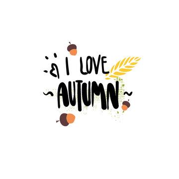 I love autumn badge isolated design label