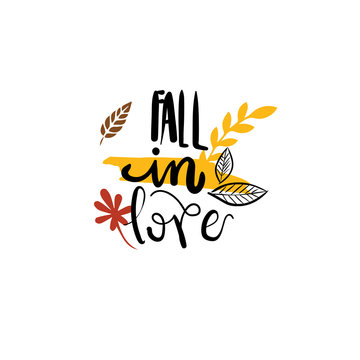 Fall in love autumn badge isolated design