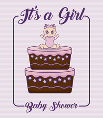 its a girl baby shower concept with cute baby girl and cake icon over pink background, vector illustration