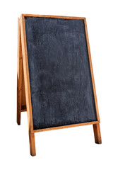 Wooden menu board on white
