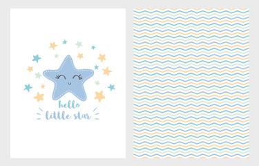 Hello Little Star Vector Illustration Set. Hand Drawn Design. Smiling Blue Star. White Background. Baby Shower Theme.