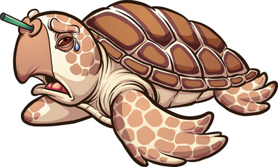 Sad sea turtle crying with a plastic straw in it's nose. Vector clip art illustration with simple gradients. All in a single layer.