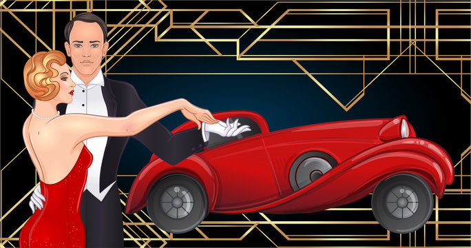 Beautiful couple in art deco style dancing tango. Retro fashion: glamour man and woman of twenties and red car. Vector illustration. Roaring Twenties.