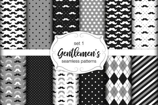 Cute set of Gentlemen's seamless patterns with mustache