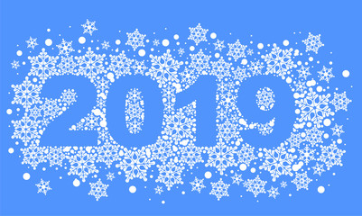 2019 happy new year text number of snowflakes