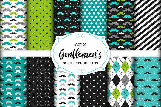 Cute set of Gentlemen's seamless patterns with mustache