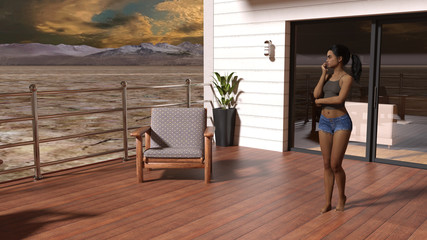 Illustration of a woman standing on a deck outside