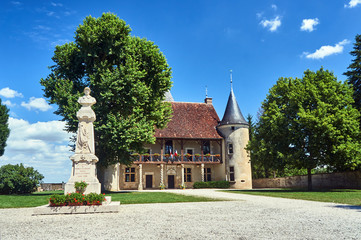 Poster Artistique monument and Historic mansion in Rumilly-les-Vaudes in Champagne.