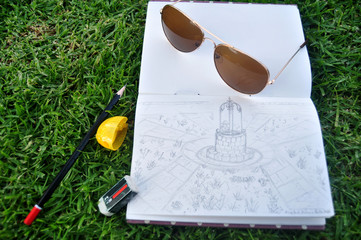 Thai people sketch and drawing picture water-well in garden