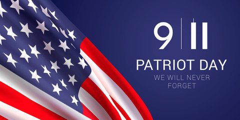 Vector banner design template with american flag and text on dark blue background for Patriot Day. National Day of Prayer and Remembrance for the Victims of the Terrorist Attacks on 09.11.2001. Wall mural