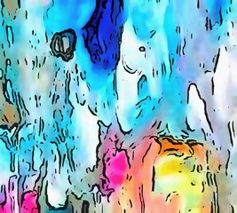 Visual modern pop art. Riot of colors on paper. Super bright background. Abstract surrealism. Expression of paint. Cartoon style backdrop. Handmade warm texture. Crazy vibrant wallpaper.