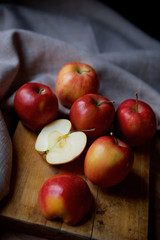 Bright juicy red apples